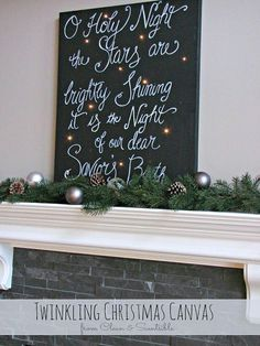 Create a beautiful holiday sign with a canvas and Christmas lights. It looks so pretty at night!
