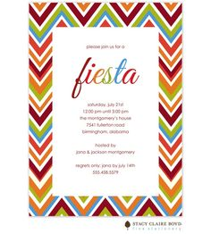 Love the colors in this chevron-style fiesta party invitation, perfect for a Cinco de Mayo bash