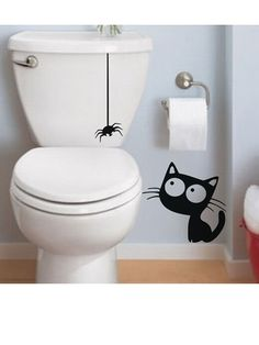 Funny Vinyl Wall Sticker Pattern Cat and Spider Toilet Sticker Mural decals For house decoration hotel decor Creative Wall Decor, Creative Walls, Ambiance Sticker, Wall Painting Decor, Spray Paint Art, Hotel Decor, Vinyl Wall Stickers, Street Art Graffiti, Wall Art Designs