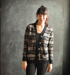Vintage 1970s Striped Variegated Metallic Cardigan by drowsySwords