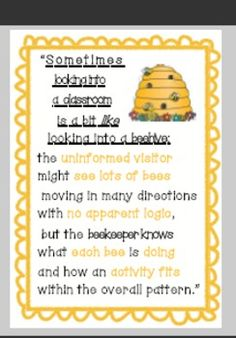 Classroom busy bee quote poster