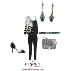 Adorn this black-and-white cardigan with these emerald crystal Art Deco earrings and bracelet to look sensational in the evening.