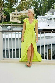 lime off shoulder slit maxi dress