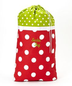 Take a look at this Green & White Polka Dot Santa Bag by Caught Ya Lookin' on #zulily today!