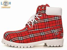 Timberland Custom Boots White Grid Red X)