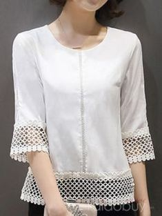Chic Hollow Design Half Sleeve Blouse // Nikola Sen Discover the most beautiful dress patterns on th Stylish Dress Designs, Designs For Dresses, Stylish Dresses, Fashion Dresses, Kurta Designs, Blouse Designs, Sewing Clothes, Crochet Clothes, Shirt Blouses