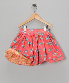 Take a look at this Melon & Pink Floral Reversible Skirt - Infant, Toddler & Girls by Right Bank Babies on #zulily today!