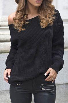 Skew Neck Long Sleeve Black Sweater