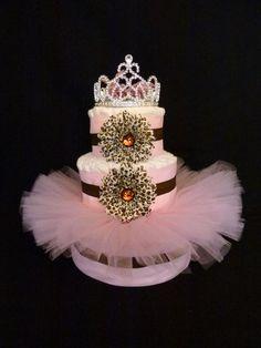Diva Princess Cheetah Tutu Baby Diaper Cake by mamabijou on Etsy, $80.00