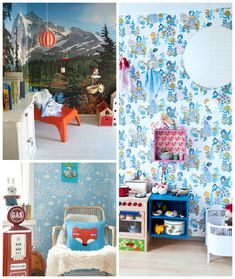 19 clever ways to transform a kid's room with wallpaper via WeeBirdy.com.