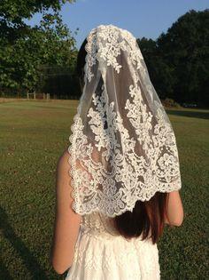 Bridal Mantilla Veil in ivory Alencon by reneeburroughsdesign