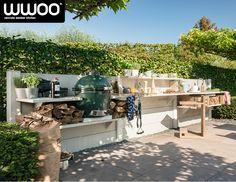 WWOO outdoor kitchen | www.wwoo.nl Outdoor Rooms, Outdoor Living, Outdoor Furniture Sets, Outdoor Kitchens, Outdoor Decor, Big Green Egg Outdoor Kitchen, Built In Braai, Garden Design, House Design