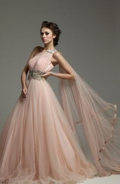 For a second wedding or renewal. Pretty. -elf --> Pink Kamaali Couture gown| pink wedding gown
