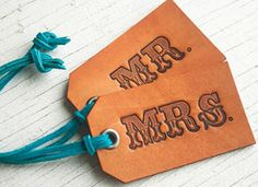 Aw, really cute luggage tags for newlyweds. (Though they might need a Mrs./Mrs. and Mr./Mr. set too)