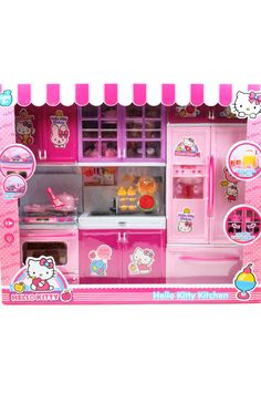 This Barbie Vogue Modern HELLO KITTY kitchen is 3 glorious pieces that can be arranged however you like! All cabinets open. Comes with: 1) Oven with silver stove and fan with cabinets with storage (ba