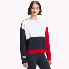 TOMMY HILFIGER Pull athleisure à manches contrastées - LGH/CL.WHITE/JELLY BEAN - TOMMY HILFIGER Femmes - image principale