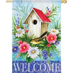 Birdhouse Welcome Spring Garden Flag