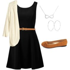 owls212 on Polyvore ~ black dress, cream cardigan & tan flats