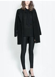 Wholesale Casual & Simple Waist Shaping Pure Color Splicing Slim Leggings----Black    top dresses