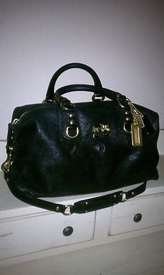 Large Coach Madison Black /  Brass Pebbled Leather Handbag Satchel Purse Bag