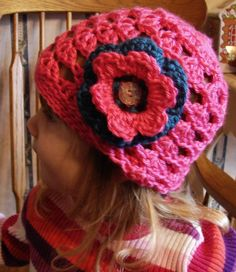 Girl's Crocheted Flower Hat by TheCraftyCaladium on Etsy, $12.00