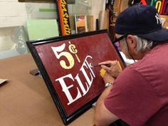 """Painting sign for the """"SIGNPAINTERS"""" movie premiere in Saskatoon as a door prize. Door Prizes, Hand Painted Signs, Movies, Painting, Films, Painting Art, Paintings, Film Books, Movie"""