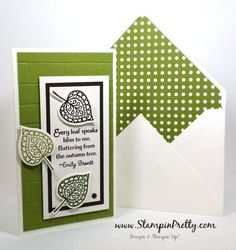 stampin up lighthearted leaves mary fish stampin pretty demonstrator blog emvelope punch board