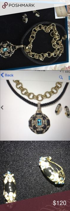 """Heidi Daus necklace set Heidi Daus """"Newport Chic"""" enamel and crystal jewelry suite.  Includes: enhancer pendsnt, fabric cord, toggle chain, hoop pierced earrings Heidi Daus Jewelry Necklaces"""