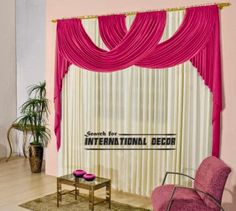 Modern curtain design and drapery for living room and bedroom window, it's one of stylish curtains, Modern curtain design and pink drapery, curtain and drapes, modern pink curtains Unique Curtains, Cute Curtains, Curtains And Draperies, Luxury Curtains, Pink Curtains, Beautiful Curtains, Modern Curtains, Valances, Contemporary Curtains