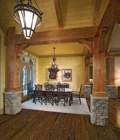 Rustic wood & stone is brought from the outside to the inside!