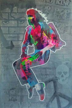 """Michael Jackson-This is It"" Acrylic painting 150x100cm #AdamRaid #MichaelJackson #art #painting #music #star #love"