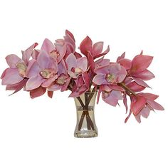 "14"" Cymbidium Orchids in Vase - Faux Arrangements (1.035 HRK) ❤ liked on Polyvore featuring home, home decor, floral decor, flowers, decorative accessories, handmade home decor, floral home decor and pink home decor"