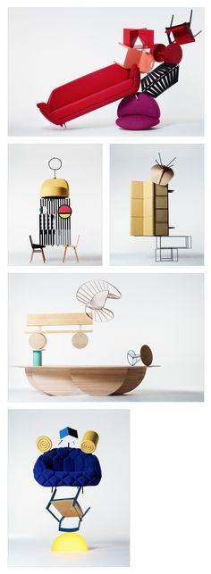 Metz + Racine Shoot Acrobatic Furniture for Case Da Abitare - amazing display
