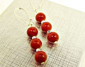 Cherry Red Fossil Stone & Silver Bead Dangle Earrings