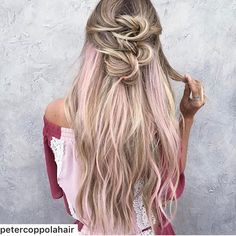 blond with subtle pink highlights #hair