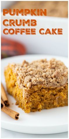 This Pumpkin Coffee Cake recipe tastes like fall. A cozy and generous mix of spices – cinnamon, ginger and nutmeg, along with a rich crumb topping make this coffee cake a perfect, seasonal treat.