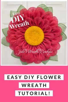 How to Make a Flower Wreath / New Petal / Wreath Tutorial - Make this adorable spring wreath with an easy DIY video instructions. DIY Wreath, Wreath Making, - Burlap Flower Wreaths, Sunflower Wreaths, Deco Mesh Wreaths, Wreath Burlap, Deco Mesh Crafts, Ribbon Wreaths, Yarn Wreaths, Floral Wreaths, Mesh Ribbon