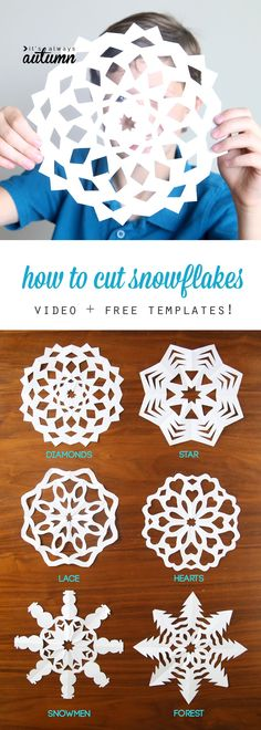 How to make paper snowflakes, Cutting snowflakes is one of our favorite holiday traditions! Learn how to cut snowflakes with this video tutorial and free snowflake patterns. Easy Christmas or winter crafts for kids. Holiday Crafts For Kids, Fun Crafts, Diy And Crafts, Kids Winter Crafts, Simple Christmas Crafts, Christmas Projects For Kids, Homemade Christmas, Christmas Activities For Kids, Winter Fun