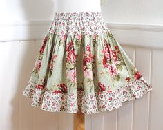 Girl Floral Twirl Skirt Old Fashion Rose Gathered Tiered Ruffle Skirt Size 2 3 4 5 6 7 8 10 12 14 Cotton Children Clothes Fall Girl Clothing...