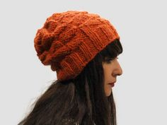 Chunky women hat/ orange knit hat/ women slouchy hat/ alpaca knit hat/ custom color hat/ gift for her/ geometric hat/ orange  slouchy beanie by PepperFashion on Etsy