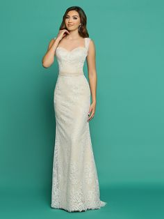 Sleek, sophisticated yet soft, this lace sheath has everything youâÃ'€Ã'™re looking for in an informal wedding dress. Head to toe lace begins at the sweetheart neckline with its hint of Queen Anne and follows the slender shoulder straps to the full coverage back with its row of delightful covered buttons. A simple ribbon marks the natural waist and ties in back with just enough trailing ribbon to lead the eye to the hem with its sweep train and delicate eyelash lace.