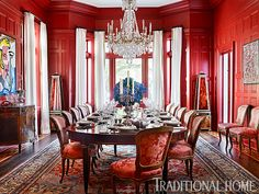 red-dining-room-baccarat-crystal-chandelier-antiques-modern-art-damask-upholstery - The Glam Pad Traditional Dining Rooms, Traditional House, Architecture Design, Charleston Homes, Mansion Interior, Chandelier, Painting Trim, Red Rooms, World Of Interiors
