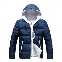 1ada2eca3ff Men Winter Casual New Hooded Thick Padded Jacket Zipper Slim Men And Women Coats  Men Parka Outwear Warm-Men s Jackets   Coats-Enso Store-Blue White-M-Enso  ...