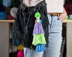 Three Tassels Pom Pom Keychain. Shop at   https://www.dipdiploom.com/shop/keychains/three-tassels-pom-pom-keychain/#  #pompom #keychain #tassels #colorful #bagaccesories #accesories #bagcharms #charms #zippercharm  #handmade #dipdiploom