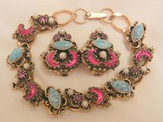 Outstanding rare red half moon simulated Turquoise Cab purple rhinestone seed bead Bracelet Earring Set