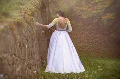 Yellow-white princess dress with embroidery by AtelierDeCoutureJK