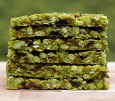 Matcha Peanut Butter Granola Bars (switch out the honey for agave, maple syrup or golden syrup)