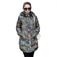 Winter 2016 New Female Medium-Long Hooded Jacket Outerwear Camouflage Butterfly Print Cotton Parkas Coat Women WY449