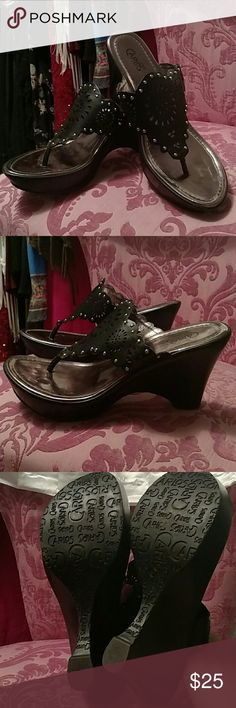 Carlos Santana Wedge platform flip flops Black cut out design with silver studs Carlos Santana Shoes Wedges