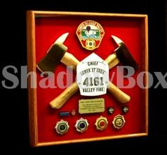 Custom shadow box made by ShadowBoxUSA. Small axes provided by ShadowBoxUSA. Custom Shadow Box, Volunteer Firefighter, Fire Department, Holiday Decor, Tools, Fire Dept